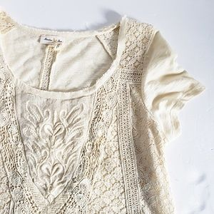 Anthropologie Meadow Rue Cream Lace Top S